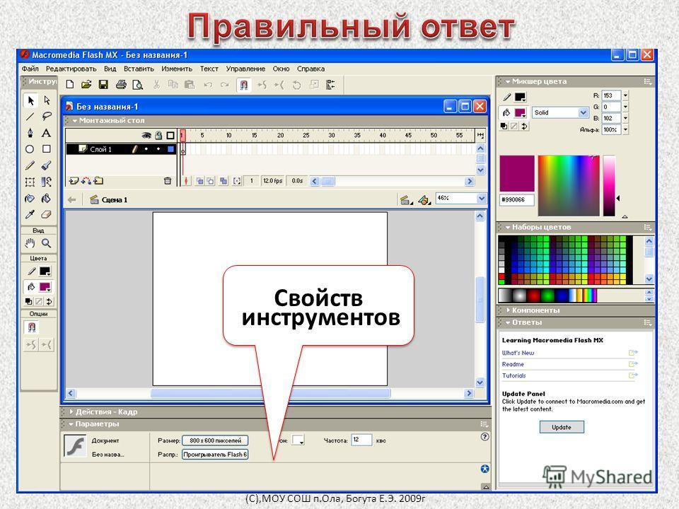Свойств инструментов Свойств инструментов (С),МОУ СОШ п.Ола, Богута Е.Э. 2009г