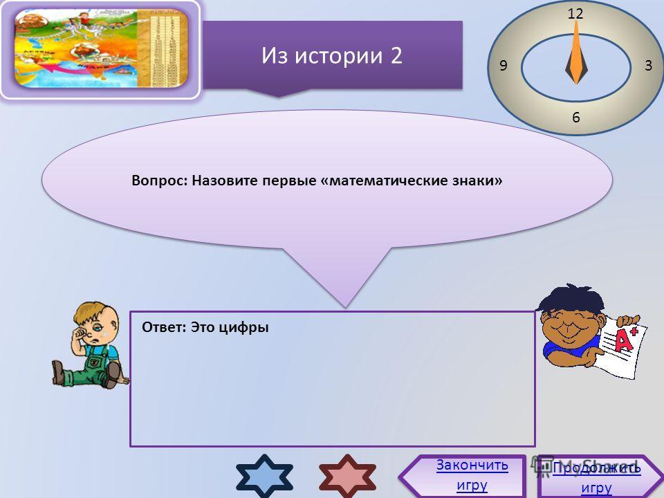 Вопрос: Назовите первые «математические знаки» 12 3 6 9 Ответ: Это цифры Продолжить игру Продолжить игру Закончить игру Из истории 2