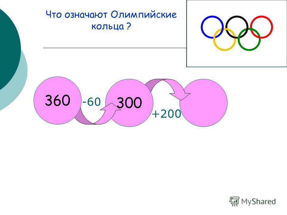 300 360 -60 +200 Что означают Олимпийские кольца ?
