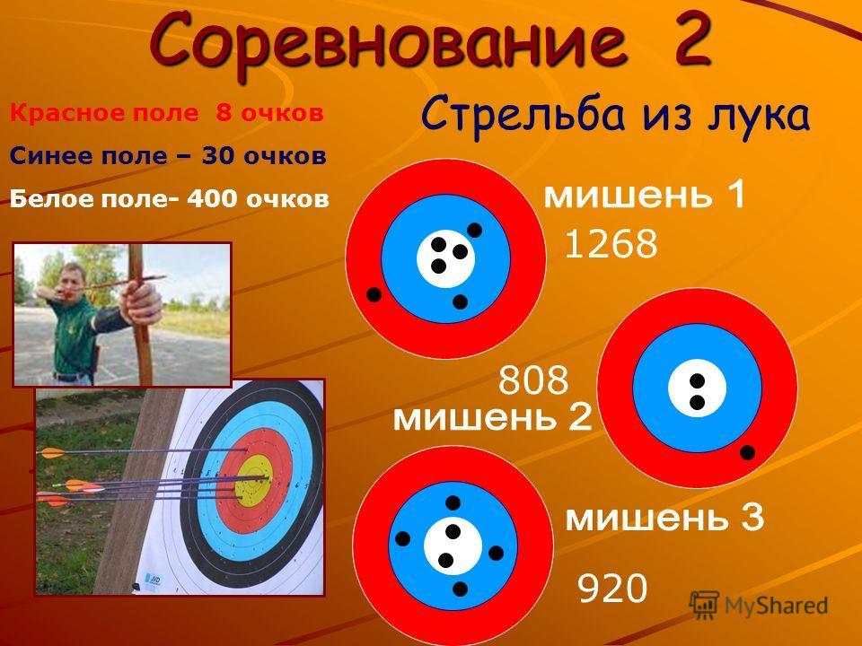 Соревнование 2 Стрельба из лука Красное поле 8 очков Синее поле – 30 очков Белое поле- 400 очков 1268 808 920920