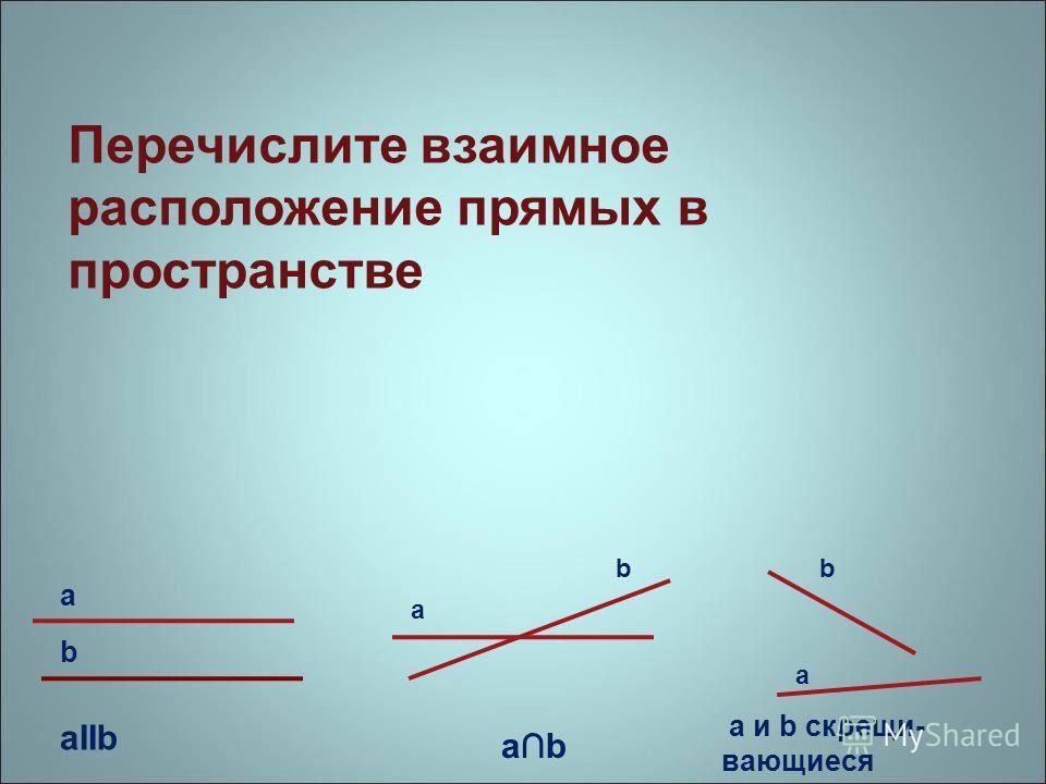Перечислите взаимное расположение прямых в пространстве aIIb a b b b a a ab а и b скрещи- вающиеся