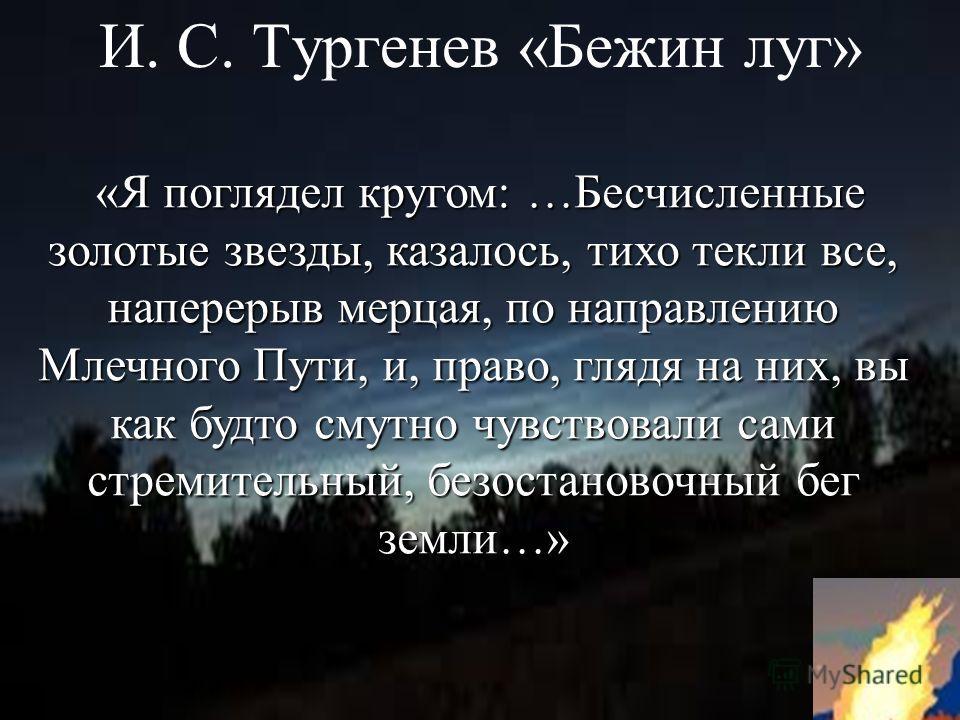 И. С. Тургенев «Бежин луг» «Я поглядел кругом: …Бесчисленные золотые звезды, казалось, тихо текли все, наперерыв мерцая, по направлению Млечного Пути, и, право, глядя на них, вы как будто смутно чувствовали сами стремительный, безостановочный бег зем