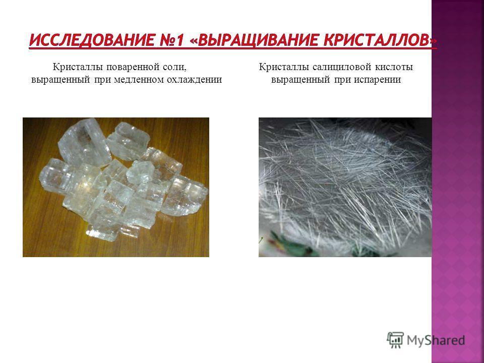 Кристаллы поваренной соли, Кристаллы салициловой кислоты выращенный при медленном охлаждении выращенный при испарении