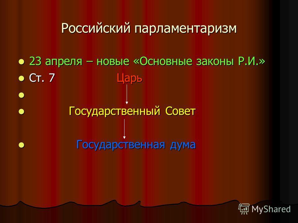 Российский парламентаризм 23 апреля – новые «Основные законы Р.И.» 23 апреля – новые «Основные законы Р.И.» Ст. 7 Царь Ст. 7 Царь Государственный Совет Государственный Совет Государственная дума Государственная дума