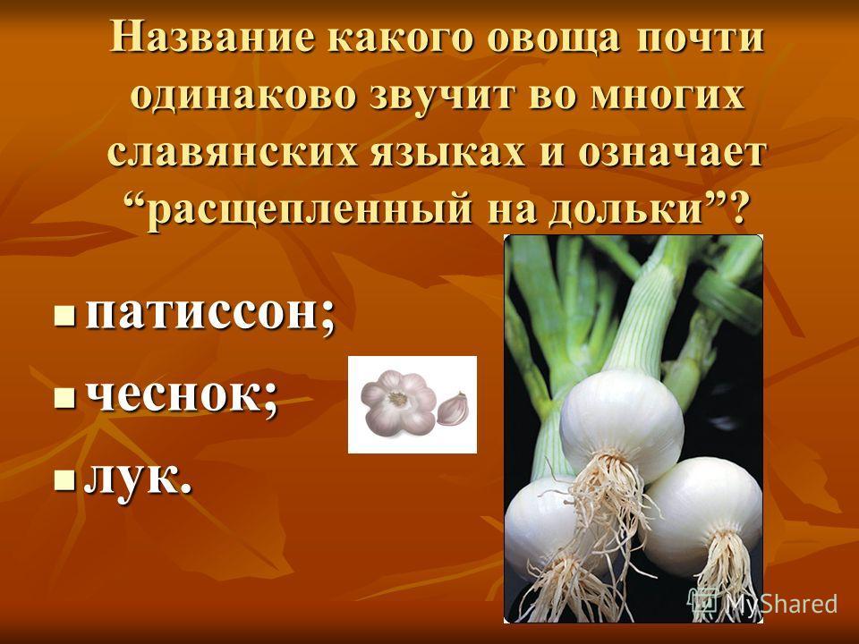 Название какого овоща почти одинаково звучит во многих славянских языках и означает расщепленный на дольки? патиссон; патиссон; чеснок; чеснок; лук. лук.