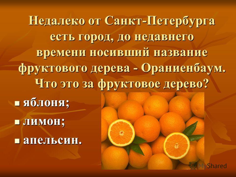 Недалеко от Санкт-Петербурга есть город, до недавнего времени носивший название фруктового дерева - Ораниенбаум. Что это за фруктовое дерево? яблоня; яблоня; лимон; лимон; апельсин. апельсин.