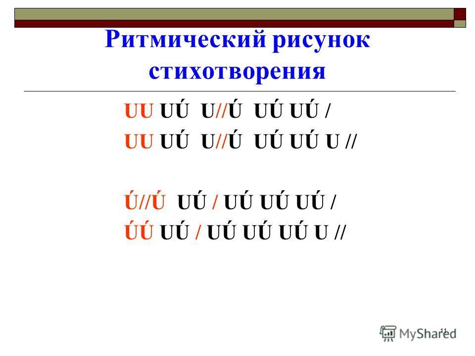11 Ритмический рисунок стихотворения UU UÚ U//Ú UÚ UÚ / UU UÚ U//Ú UÚ UÚ U // Ú//Ú UÚ / UÚ UÚ UÚ / ÚÚ UÚ / UÚ UÚ UÚ U //