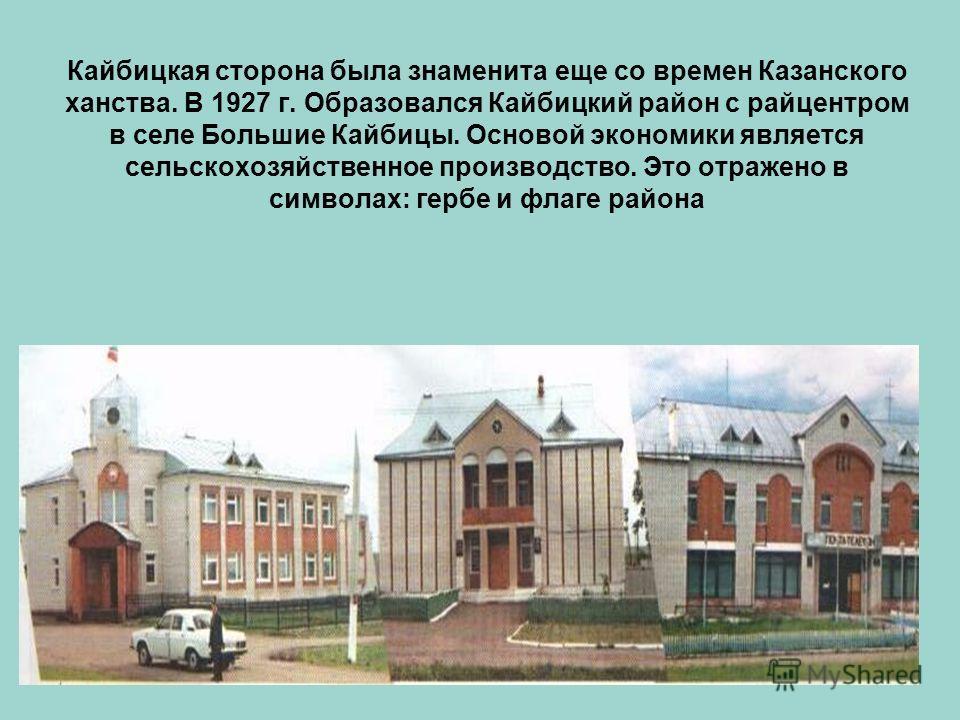 Кайбицкая сторона была знаменита еще со времен Казанского ханства. В 1927 г. Образовался Кайбицкий район с райцентром в селе Большие Кайбицы. Основой экономики является сельскохозяйственное производство. Это отражено в символах: гербе и флаге района