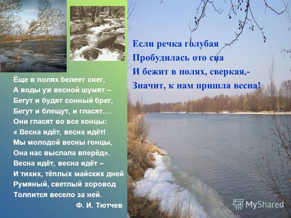 Если речка голубая Пробудилась ото сна И бежит в полях, сверкая,- Значит, к нам пришла весна! Ёще в полях белеет снег, А воды уж весной шумят – Бегут и будят сонный брег, Бегут и блещут, и гласят…. Они гласят во все концы: « Весна идёт, весна идёт! М