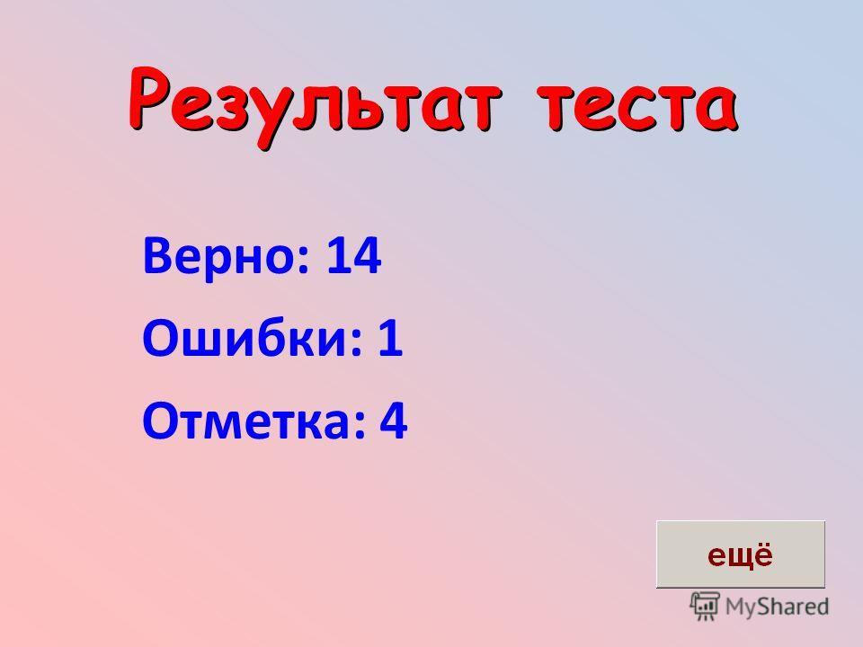 Результат теста Верно: 14 Ошибки: 1 Отметка: 4