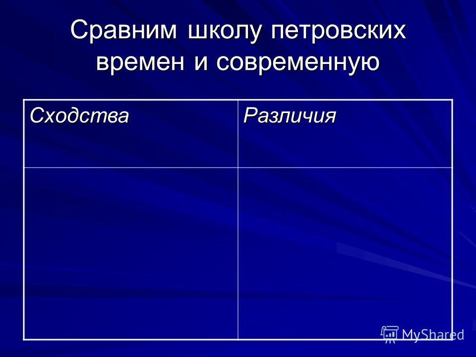 Сравним школу петровских времен и современную СходстваРазличия
