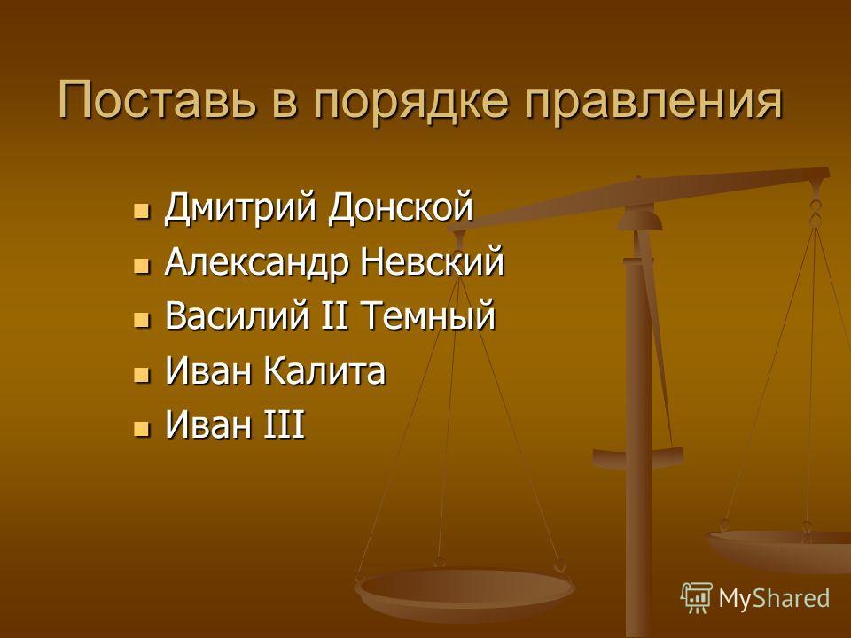 Поставь в порядке правления Дмитрий Донской Дмитрий Донской Александр Невский Александр Невский Василий II Темный Василий II Темный Иван Калита Иван Калита Иван III Иван III