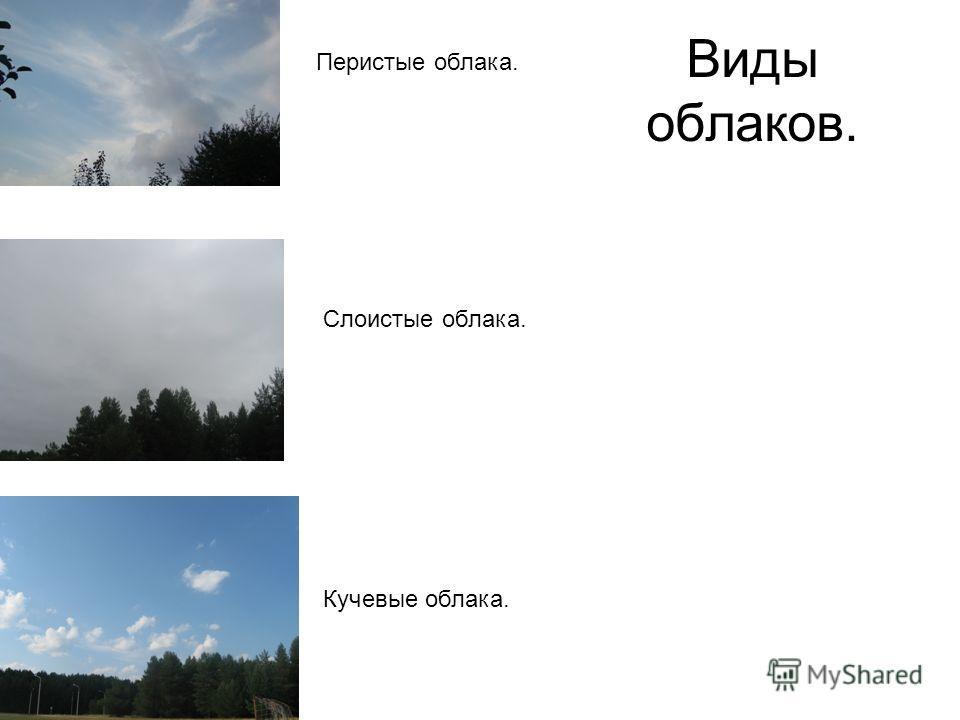 Виды облаков. Кучевые облака. Слоистые облака. Перистые облака.