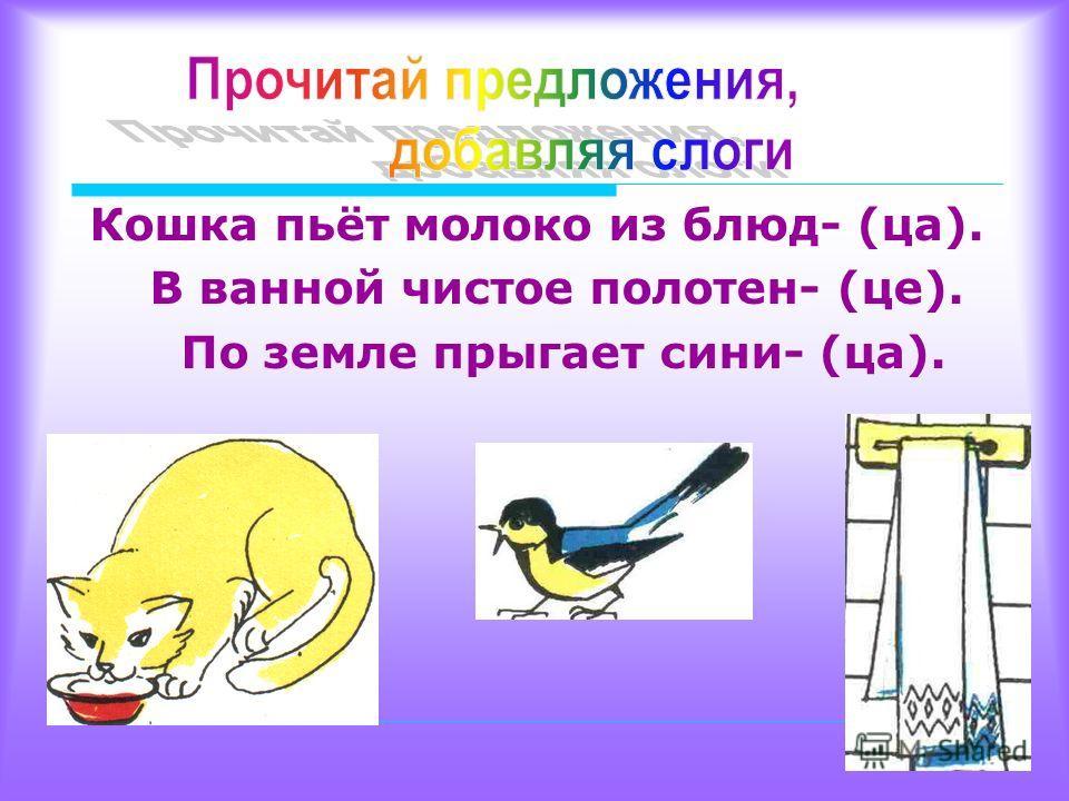 Кошка пьёт молоко из блюд- (ца). В ванной чистое полотен- (це). По земле прыгает сини- (ца).