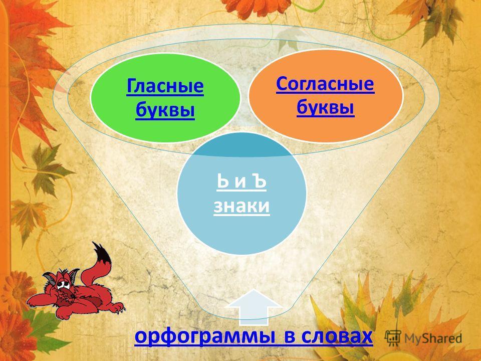 орфограммы в словах Ь и Ъ знаки Гласные буквы Согласные буквы