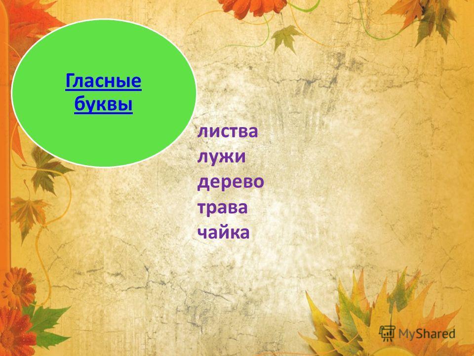 листва лужи дерево трава чайка Гласные буквы