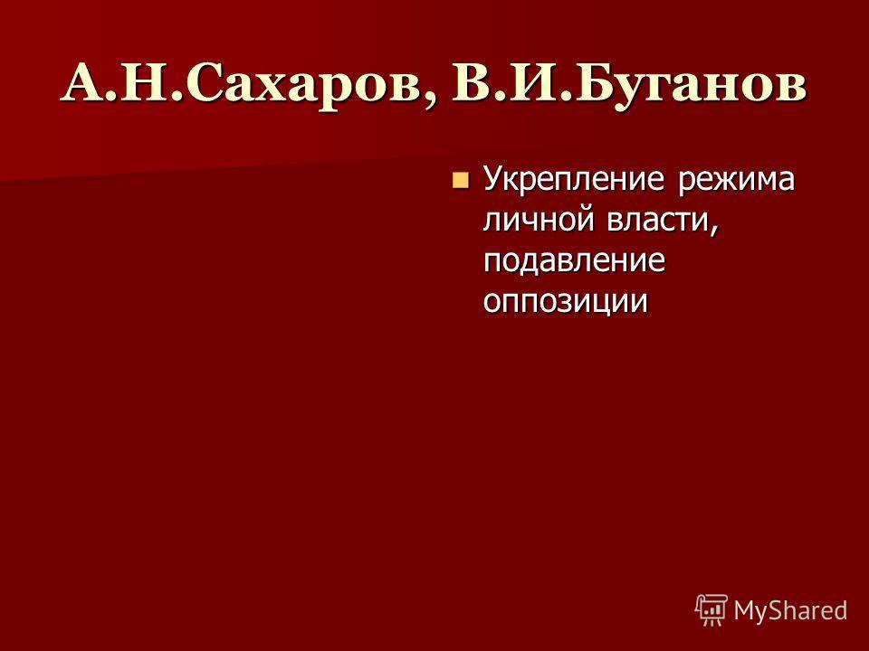А.Н.Сахаров, В.И.Буганов Укрепление режима личной власти, подавление оппозиции Укрепление режима личной власти, подавление оппозиции