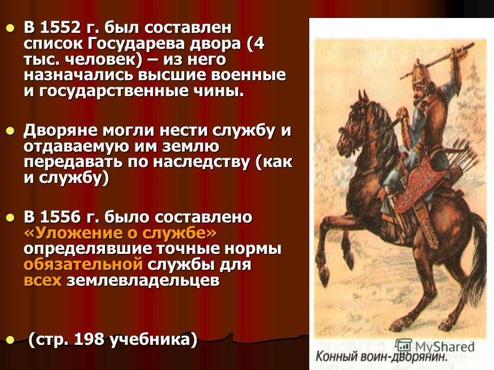В 1552 г. был составлен список Государева двора (4 тыс. человек) – из него назначались высшие военные и государственные чины. В 1552 г. был составлен список Государева двора (4 тыс. человек) – из него назначались высшие военные и государственные чины