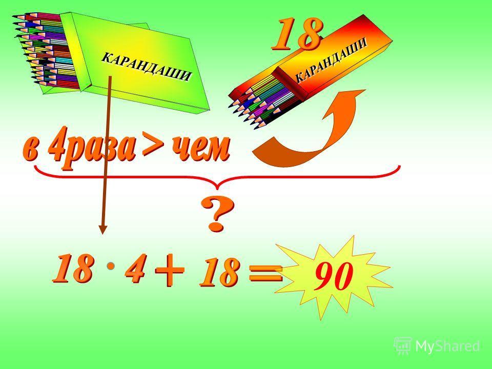 Составь выражение для решения задачи. В двух коробках лежат карандаши, причем в одной из них в 4 раза больше, чем в другой. Сколько карандашей в обеих коробках, если в меньшей их 18 штук? КАРАНДАШИ КАРАНДАШИ КАРАНДАШИ КАРАНДАШИ