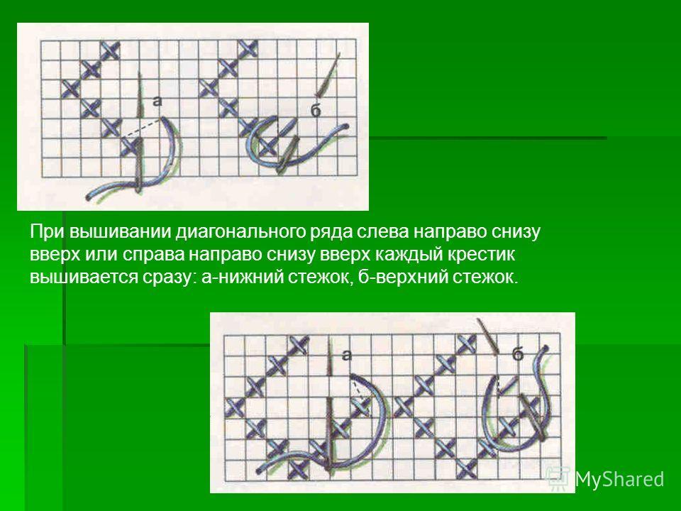При вышивании диагонального ряда слева направо снизу вверх или справа направо снизу вверх каждый крестик вышивается сразу: а-нижний стежок, б-верхний стежок.