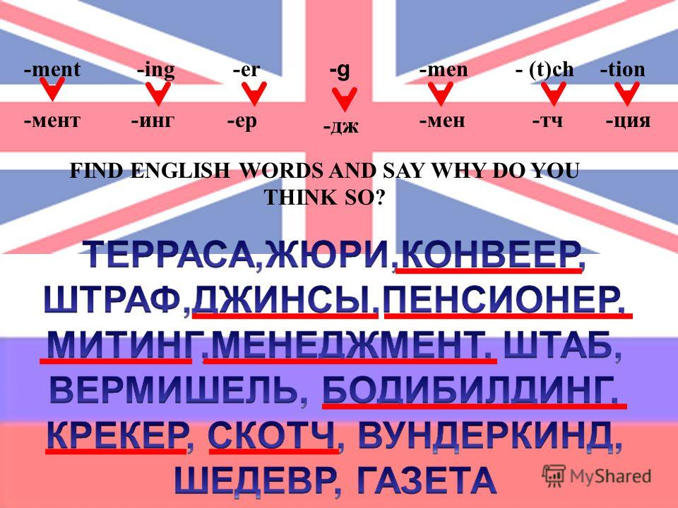 -g -ing-ment-men-er- (t)ch-tion -мент-инг-ер -дж -мен-тч-ция FIND ENGLISH WORDS AND SAY WHY DO YOU THINK SO?