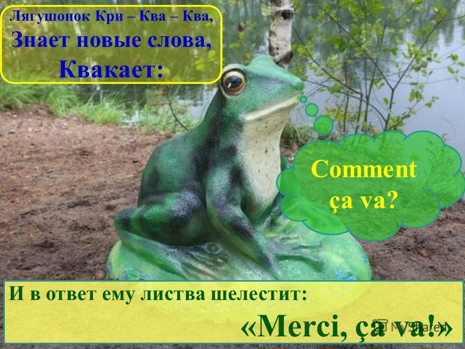 Лягушонок Кри – Ква – Ква, Знает новые слова, Квакает: Comment ça va? И в ответ ему листва шелестит: «Merci, ça va!»