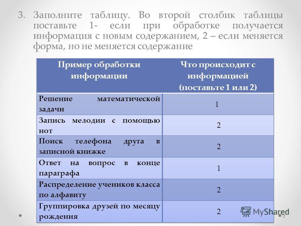 3.Заполните таблицу. Во второй столбик таблицы поставьте 1- если при обработке получается информация с новым содержанием, 2 – если меняется форма, но не меняется содержание 3