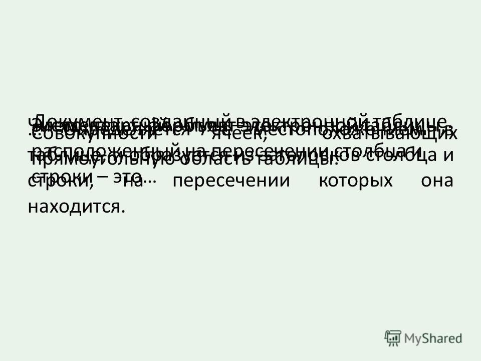 Документ, созданный в электронной таблице. Число, текст, формула –это… Выражение, определяющее вычислительные действия ТП… Элементарный объект электронной таблицы, расположенный на пересечении столбца и строки – это… … Определяется ее местоположением