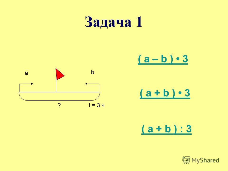 Задача 1 а b ?t = 3 ч ( а – b ) 3 ( a + b ) 3 ( a + b ) : 3