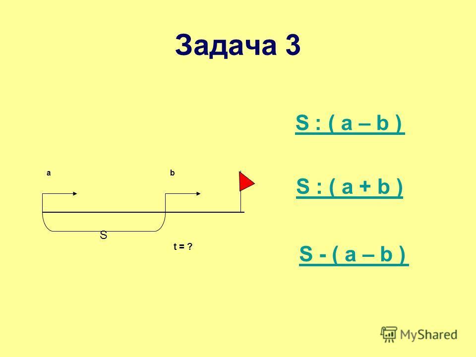 аb t = ? S S ׃ ( a – b ) S : ( a + b )S : ( a + b ) Задача 3 S - ( a – b )