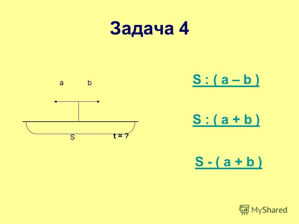 ab S t = ? S ׃ ( a – b ) S : ( a + b ) Задача 4 S - ( a + b )