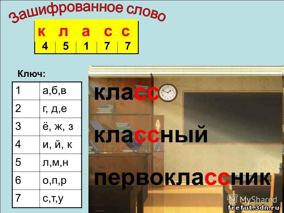 45177 Ключ: 1а,б,в 2г, д,е 3ё, ж, з 4и, й, к 5л,м,н 6о,п,р 7с,т,у к л а с с классный первоклассник