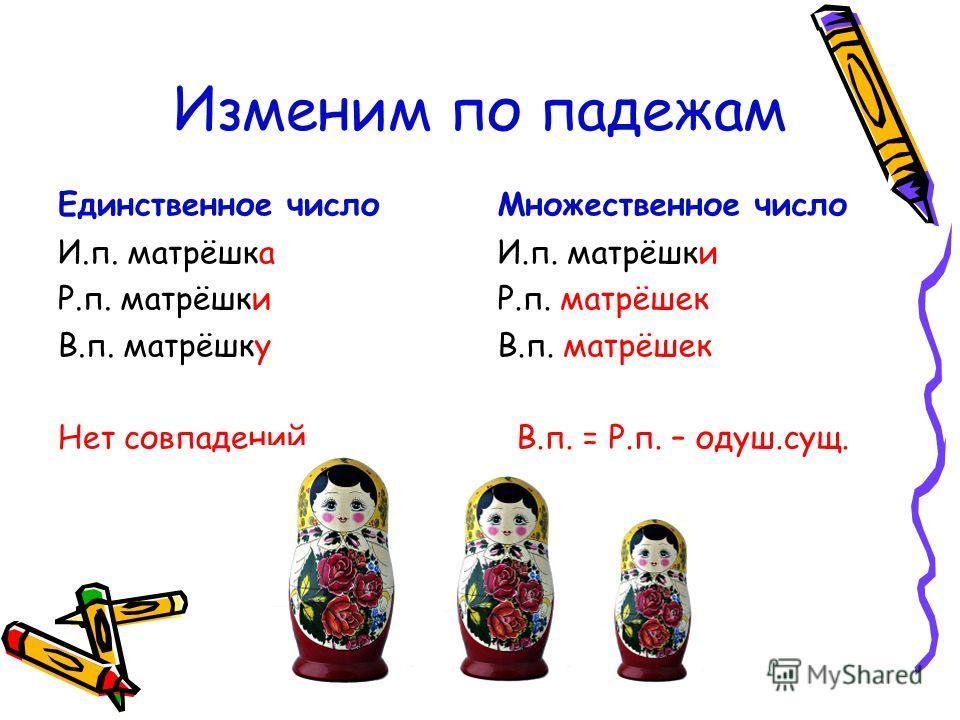 Изменим по падежам Единственное число И.п. матрёшка Р.п. матрёшки В.п. матрёшку Нет совпадений. Множественное число И.п. матрёшки Р.п. матрёшек В.п. матрёшек В.п. = Р.п. – одуш.сущ.