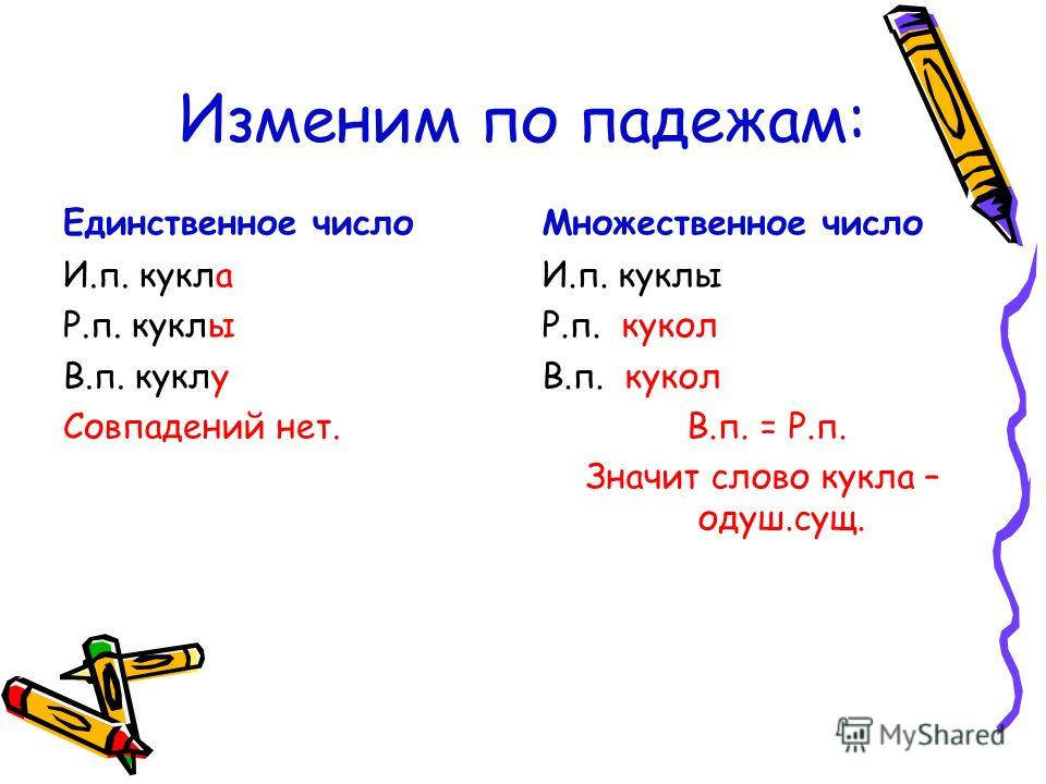 Изменим по падежам: Единственное число И.п. кукла Р.п. куклы В.п. куклу Совпадений нет. Множественное число И.п. куклы Р.п. кукол В.п. кукол В.п. = Р.п. Значит слово кукла – одуш.сущ.