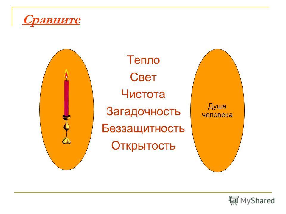 Сравните Тепло Свет Чистота Загадочность Беззащитность Открытость Душа человека