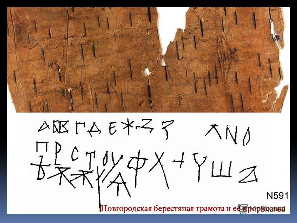 Новгородская берестяная грамота и её прорисовка