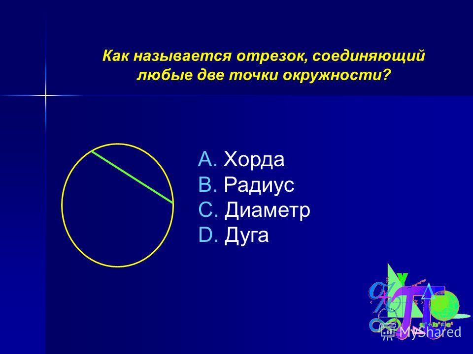 Как называется отрезок, соединяющий любые две точки окружности? A. Хорда B. Радиус C. Диаметр D. Дуга