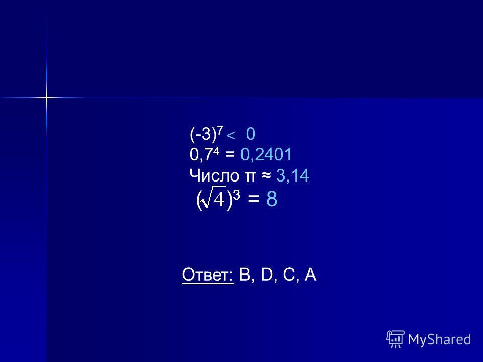 (-3) 7 ˂ 0 0,7 4 = 0,2401 Число π 3,14 ( ) 3 = 8 Ответ: В, D, С, А