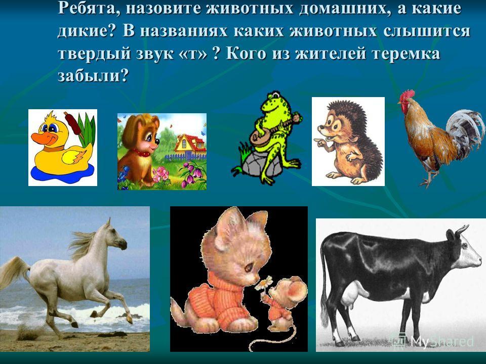 Ребята, назовите животных домашних, а какие дикие? В названиях каких животных слышится твердый звук «т» ? Кого из жителей теремка забыли?