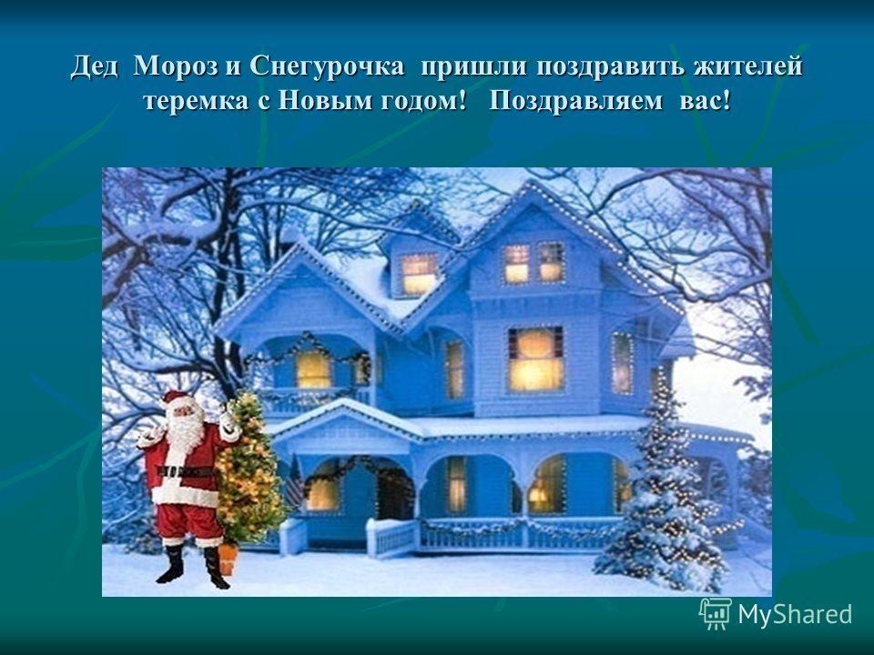 Дед Мороз и Снегурочка пришли поздравить жителей теремка с Новым годом! Поздравляем вас!
