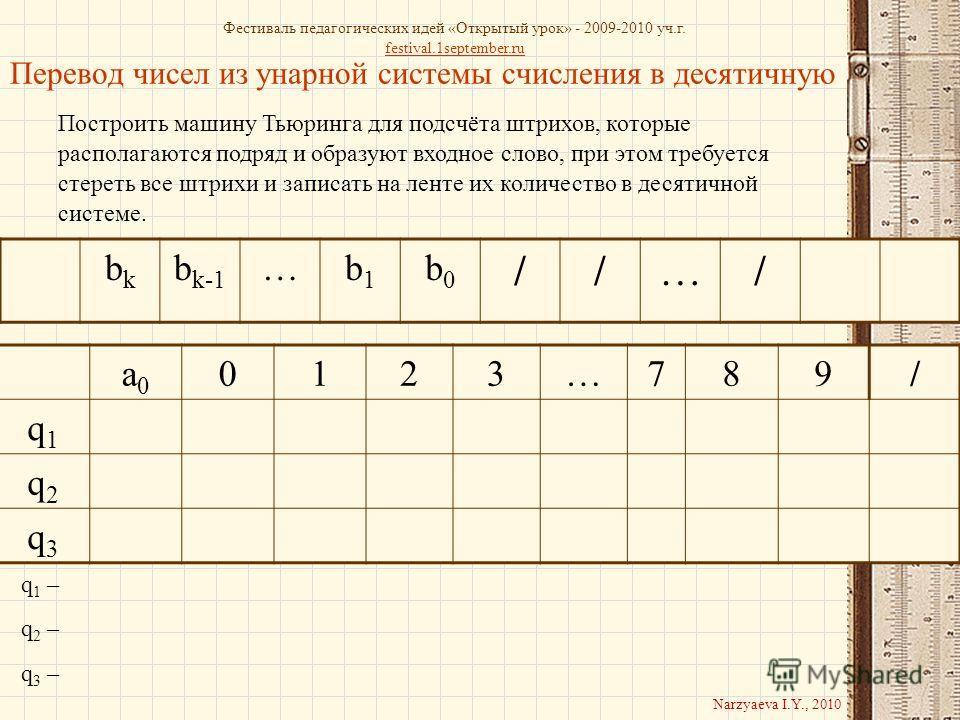 Перевод чисел из унарной системы счисления в десятичную Построить машину Тьюринга для подсчёта штрихов, которые располагаются подряд и образуют входное слово, при этом требуется стереть все штрихи и записать на ленте их количество в десятичной систем