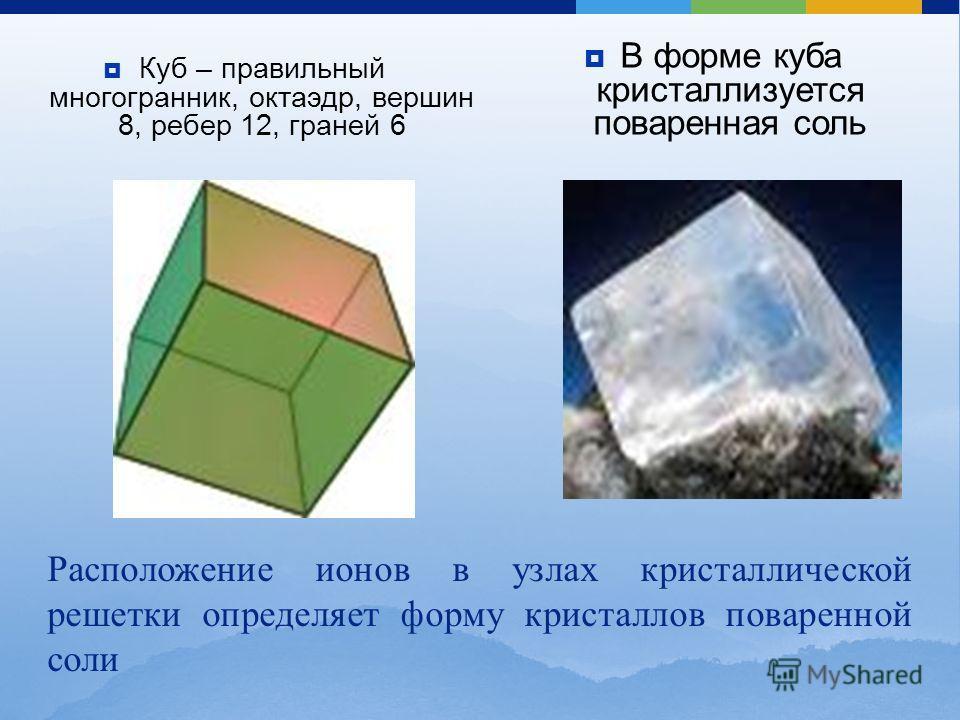 Куб – правильный многогранник, октаэдр, вершин 8, ребер 12, граней 6 В форме куба кристаллизуется поваренная соль Расположение ионов в узлах кристаллической решетки определяет форму кристаллов поваренной соли