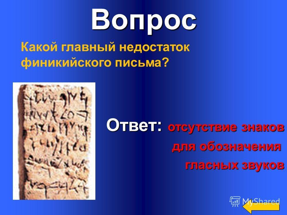 Вопрос Ответ: Ответ: 22 буквы Сколько всего букв в финикийском алфавите?