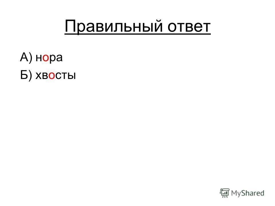 Правильный ответ А) нора Б) хвосты
