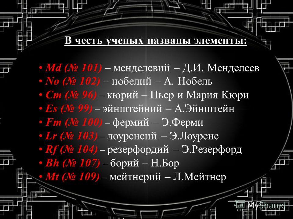 В честь ученых названы элементы: Md ( 101) – менделевий – Д.И. Менделеев No ( 102) – нобелий – А. Нобель Cm ( 96) – кюрий – Пьер и Мария Кюри Es ( 99) – эйнштейний – А.Эйнштейн Fm ( 100) – фермий – Э.Ферми Lr ( 103) – лоуренсий – Э.Лоуренс Rf ( 104)