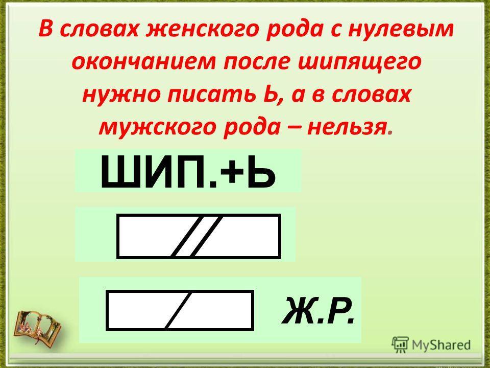 В словах женского рода с нулевым окончанием после шипящего нужно писать Ь, а в словах мужского рода – нельзя. ШИП.+Ь Ж.Р.