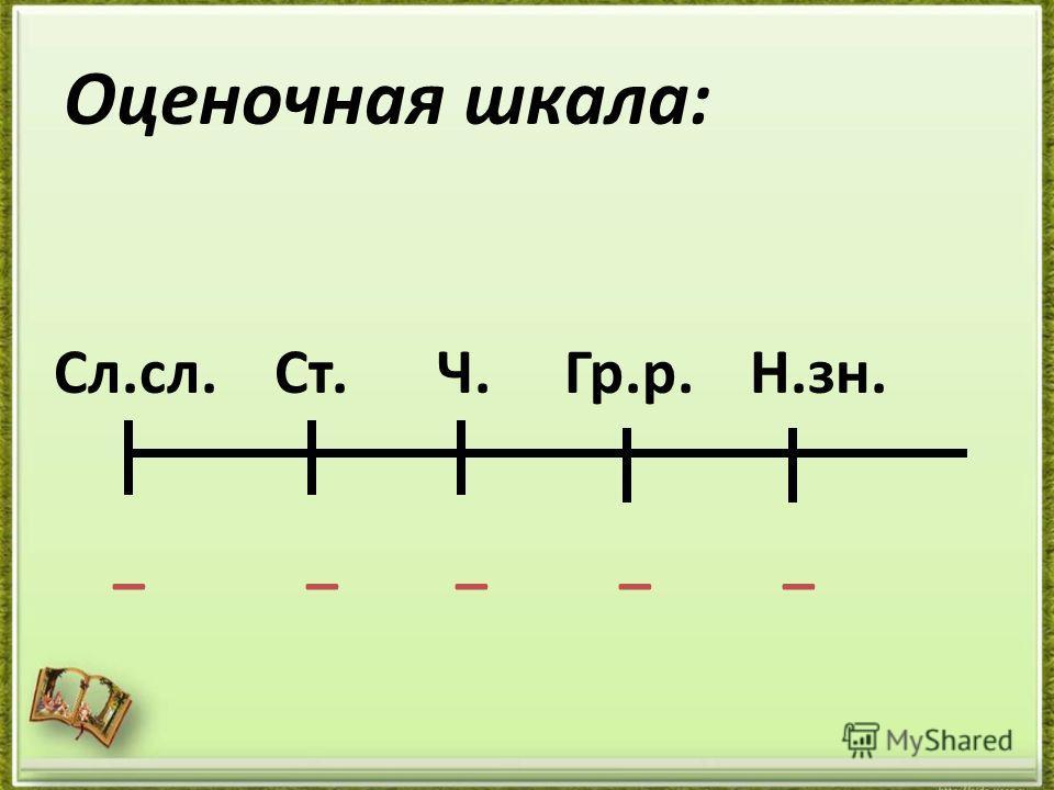 Оценочная шкала: Сл.сл. Ст. Ч. Гр.р. Н.зн. _ _ _ _ _