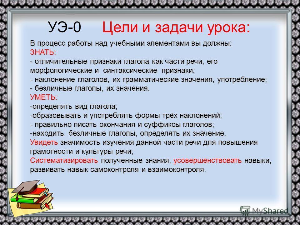 УЭ-0 Цели и задачи урока: