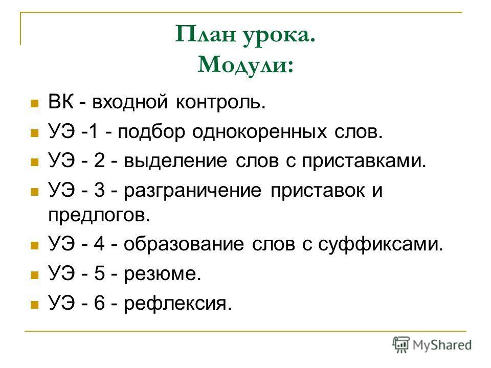 План урока. Модули: ВК - входной контроль. УЭ -1 - подбор однокоренных слов. УЭ - 2 - выделение слов с приставками. УЭ - 3 - разграничение приставок и предлогов. УЭ - 4 - образование слов с суффиксами. УЭ - 5 - резюме. УЭ - 6 - рефлексия.
