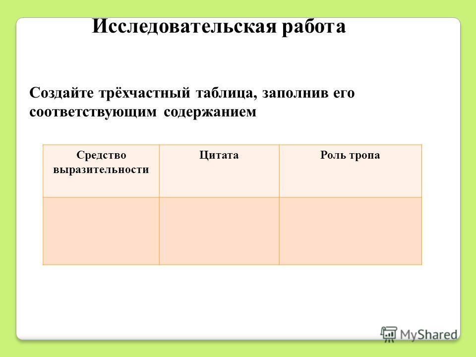 Исследовательская работа Создайте трёхчастный таблица, заполнив его соответствующим содержанием Средство выразительности ЦитатаРоль тропа